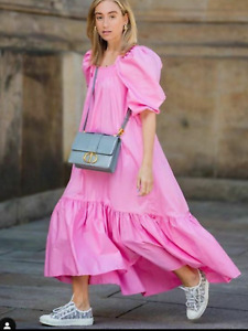 H&M Conscious Pink Poplin Voluminous Puff Sleeve Long Midi Dress S Small BNWT