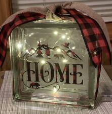 HOME BEAR NATURE WILDLIFE THEME- Decorative Glass Block Light- Night Light