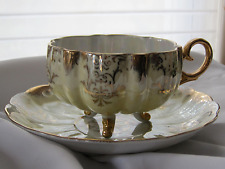 Vintage Royal Halsey V. Fine 3 Foot Yellow Iridescent Gold Cup & Saucer ~ EVC!
