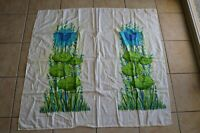Vintage Lily Pad Tablecloth Neon Blue Green Floral Lotus Retro Kitchen Decor
