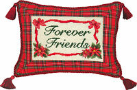 "PILLOWS - ""FOREVER FRIENDS"" PILLOW - PETIT-POINT CHRISTMAS PILLOW"