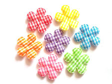 100 pcs Cute Gingham Flower padded Appliques mix rainbow colors size 25 mm