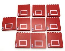 LEGO 10 Red Brick 1 x 6 x 5 with NBA Logo and Basketball Backboard Pattern PARTS