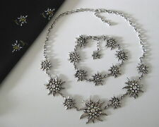 ♥Räumungsverkauf! Schmuck SET neu Trachtencollier Armband Edelweiß kristall