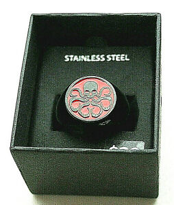 Marvel Comics Avengers Hydra Logo Stainless Steel Black Ring New NOS Box sz 15