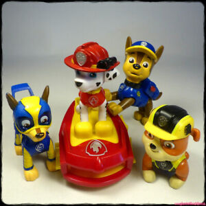 """PAW PATROL Set 4 Poseable 2.5"""" Figures + Sea Surfboard (Spin Master) [gotd]"""