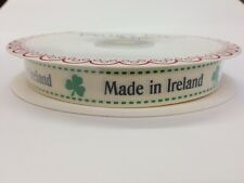 "5m Bertie's Bows Ivory ""Made In Ireland"" Print 16mm Grosgrain Ribbon, Wrap Label"