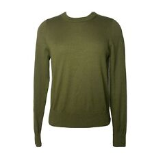 J. Crew sz Medium Merino Wool Crew Neck Sweater Pullover Olive Green Women's