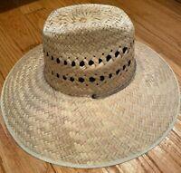 LARGE NATURAL Wheat Beige Straw Summer HAT BEACH GARDENING FISHING Hiking MEXICO