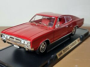 Road Signature 1966 Dodge Charger Coupe Red 1:18 Scale Diecast Model Car Rare