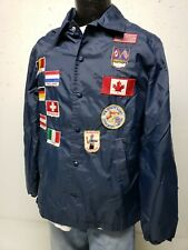Vintage 70s Sears Sportswear Jacket with 1970's Patches Blue Snapfront Men's Med