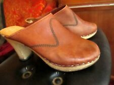 """37 EURO 5.5 US True Vtg SWEDEN MADE RAW LEATHER WOOD Clogs Shoes 3"""" heels"""