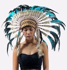 feathers indian headdress, short length, warbonnet native american style, boho h