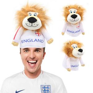 LION HAT ENGLAND HEADPIECE FOOTBALL SUPPORTER FANCY DRESS ST GEORGE FLAG NOVELTY