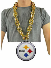 New NFL Pittsburgh Steelers Big Fan Chain GOLD Necklace Foam Magnet Made in USA