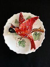 Vintage Red Bird Cardinal Wall Pocket Japan Ceramic Vase Hand Painted