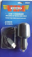 VIM 12V & 110V 3 in 1 Micro USB Charger for Hybrid Solar Flashlight & More #HS31