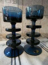 Deep Blue Glass Sheringham Wedgwood Glass 3 Ring Candleholder R.S. Wilson, 60's