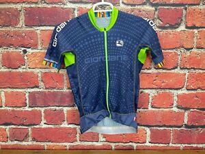 Giordana FRc Pro Cycling Road Bike Jersey Mens Medium Navy Blue Zip Up Jersey