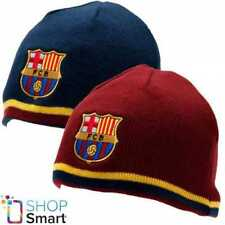 FC BARCELONA KNITTED BLUE RED BEANIE CAP HAT REVERSIBLE FOOTBALL SOCCER TEAM