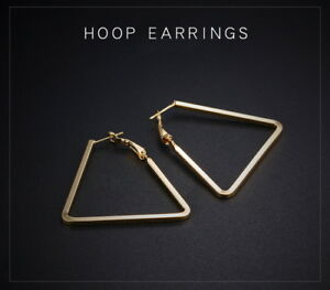 Korean Fashion Gold Plated 60mm Simple Triangle Geometry Irregular Hoop Earrings