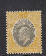 Southern Nigeria SG18 Edward VII 5/- Grey & Yellow mounted Mint