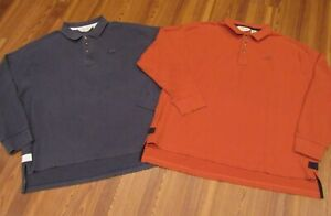 Lot 2 Men's ORVIS Blue/Orange Long Sleeve Heavy Cotton Rugby Polo Shirt XXL/2XL