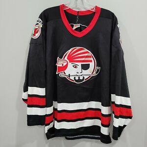 Rare VTG 90s CCM Maska Portland ME Pirates Black Hockey Jersey Mens L