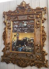 Hanging Figural Wall Mirror   Gilded Hand-Carved Frame