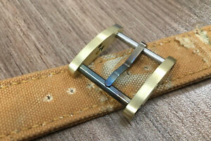 24 mm .Brass and torched steel roller watch buckle.Handmade .NoRad .Vintage