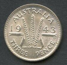 AUSTRALIA 1943-D UNCIRCULATED THREE PENCE  YOU DO THE GRADING HAVE FUN BIDDING