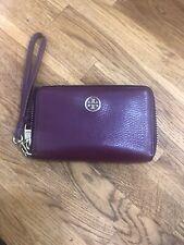 Tory Burch Women's Zipper Closure Wristlet Wallet Leather Burgundy Preowned