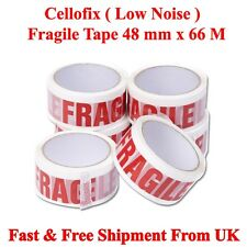 6 Rolls Of FRAGILE LOW NOISE GOOD QUALITY Parcel Pack TAPES 48mm x 66M CHEAP