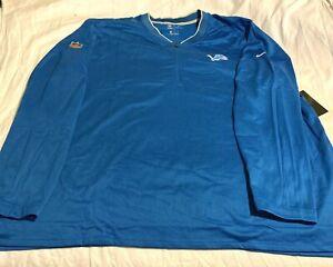 Nike Mens Large Detroit Lions On Field 1/2 Zip Sweater Size 4XL Blue 906920-484