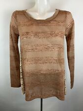 Mystree Anthropologie Sz S Long Sleeve Tunic Top Lace Back Metallic Brown Gold