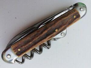 couteau 4 pièces acier chromé CARTAILLER  92 dans ovale Thiers 1898 bois de cerf