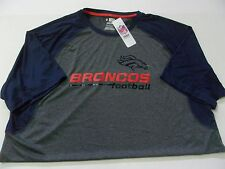 Nwt Mens $48 Denver Broncos Gray Short Sleeve Performance Logo T-Shirt Size 2Xl