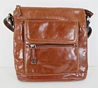 Purse Giani Bernini NWD $199 Glaze Leather Brown Crossbody Shoulder Bag Silver X