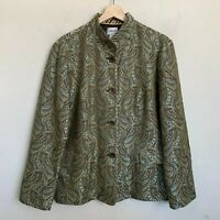 Chicos Jacket Paisley Green Brown Design Stand Collar Buttons Pockets Lined Sz 2