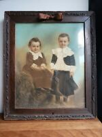 Antique 1800s oil pastel portrait two boys brothers in skirts framed 20X17 Brown