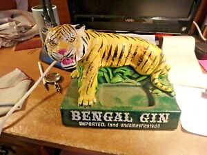 4w- vintage BENGAL (tiger) GIN chalkware bar display- very very good
