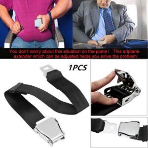 Adjustable 25-80cm Aircraft Airplane Car Seat Belt 2 point Extender Buckle Black