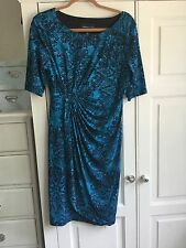 Evening dress, turquoise and black, Connected Apparel size 10/12