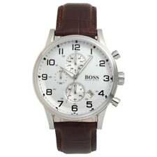 Hugo Boss HB1512447 AEROLINER Brown Leather Strap Men's Chronograph Wrist Watch
