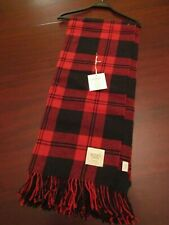 Nido Notte buffalo plaid fringe blanket throw 51x67 nwt red black made in Italy