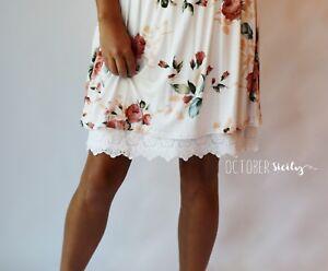 Modest Opaque Lace Dress Extender HALF SLIP *Style 1L* size S-4XL