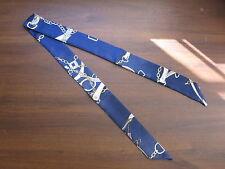 Indigo Blue Silk Twilly Scarf~Silk Handbag Tie~100% Silk Tie~Rope Belts Circles