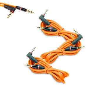 3X 4FT 3.5MM AUX AUXILIARY L-SHAPE AUDIO CABLE ORANGE FOR LUMIA 1020 Z10 Z30 Q10