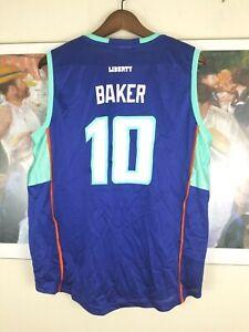 Vintage NY Liberty Sherill BAKER #10 Blue Reebok Jersey M WNBA 100% Nylon