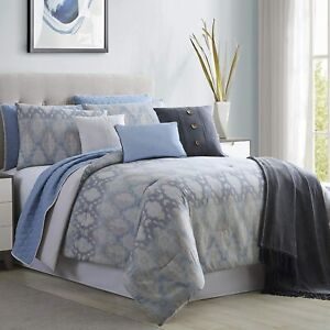 Amrapur Overseas Radiance 10-Piece Comforter and Coverlet Set, Queen, Grey/Blue